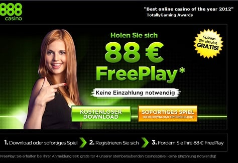 888 Casino 88 € Freeplay