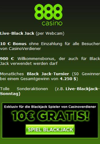 Black Jack Angebot im 888 Casino