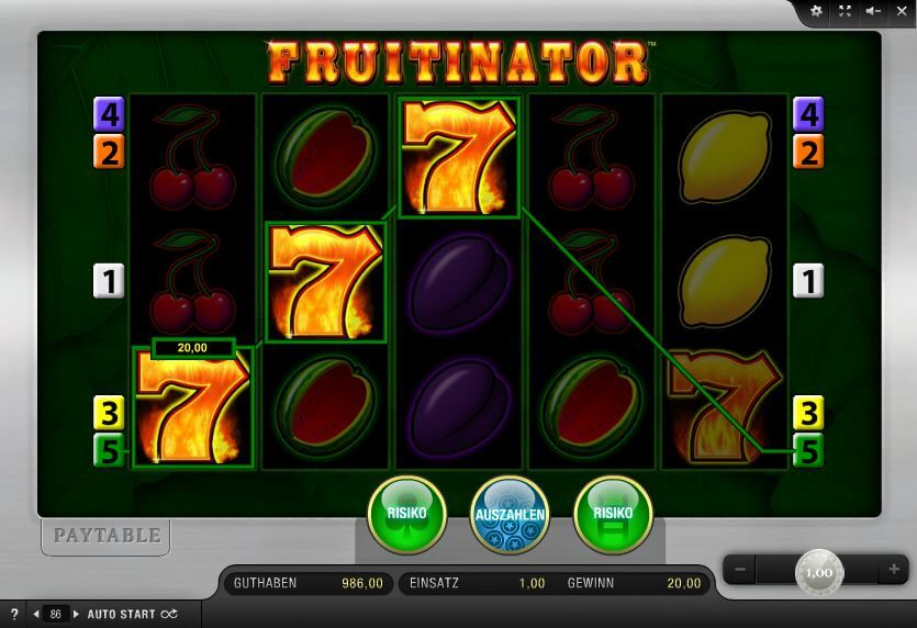 Cash plus Fruits - Online Slots legal im Onlinecasino spielen OnlineCasino Deutschland