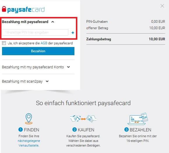 paysafe karte online