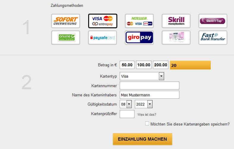 Visa Karte online
