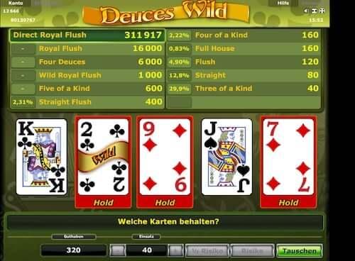 Spielen sie Deuces Wild Videopoker Online bei Casino.com Österreich