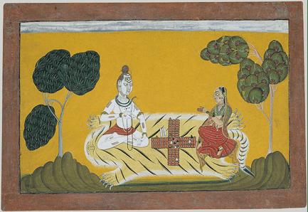 Shiva und die Parvati beim Würfeln