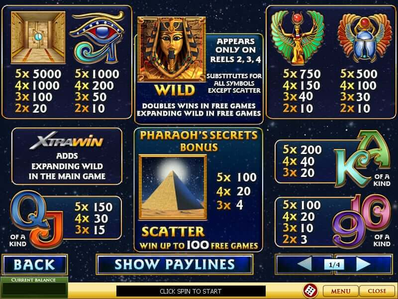 pharaohs secret online spielen