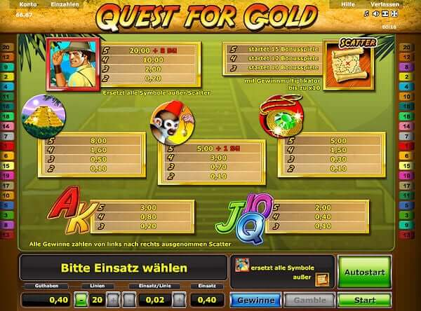 Quest for Gold bei StarGames spielen