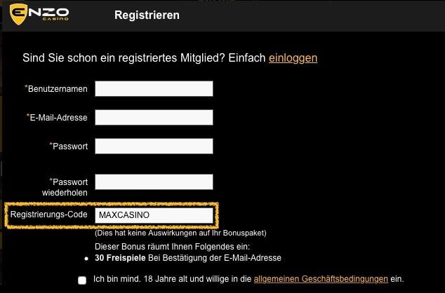 Enzo Casino Registrierungs-Code