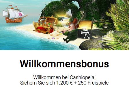 Cashiopeia Willkommensbonus