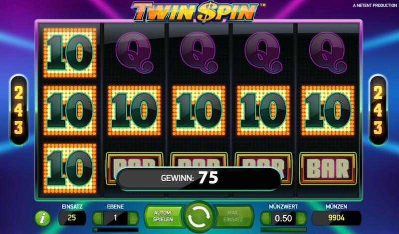 twin spin gewinn